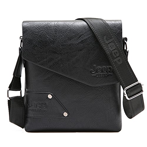 JEEP BULUO Leather Messenger Bag For Men (Black) by JEEP BULUO