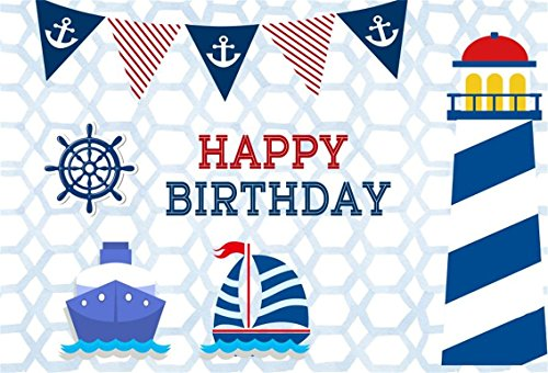 CSFOTO 5x3ft Background for Sailboat Lighthouse Happy Birthday Party Photography Backdrop Boy Birthday Bash Ornament Nautical Element Banner Children Kid Baby Photo Studio Props Polyester Wallpaper