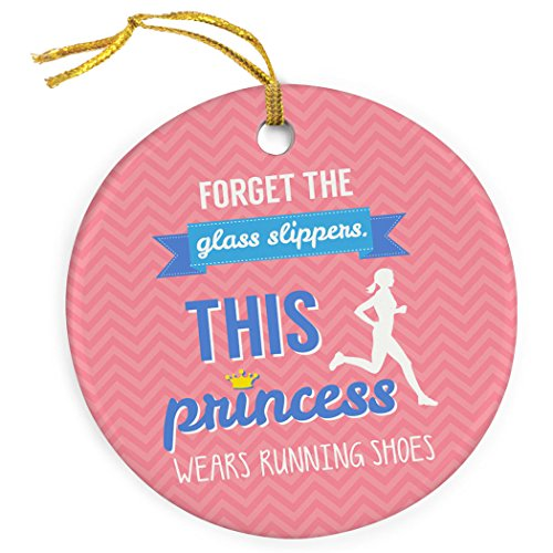 Gone For a Run This Princess Wears Running Shoes Ornament | Running Porcelain Ornaments | Pink (Ornament Runner Christmas)