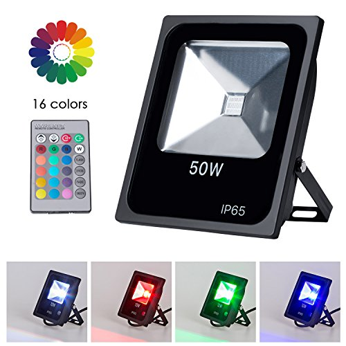 Velite RGB LED Flood Light 50W IP65 Waterproof 16 Colors 4 Modes and Dimmable by Remote Control Wall Wash Light Security Light Spotlight for Indoor and Outdoor Garden Hotel Yard Park Walkways (50w Light Wall)