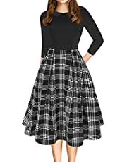 oxiuly Women's Vintage Chic Peter Pan Collar Floral Casual Swing Midi Dress with Pockets OX303