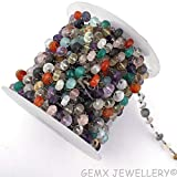 Gems-World Jewelry Natural Multi-Stone Rondelle Beads Rosary Chain,7-8mm Black Plated Wire Wrapped