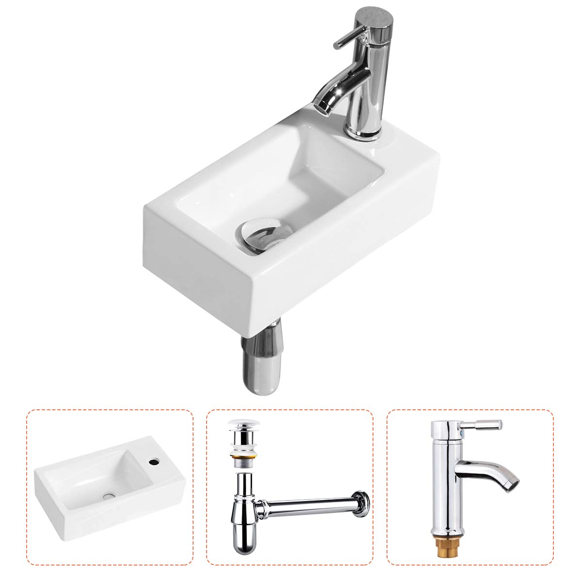Gimify Bathroom Corner Sink Wall Hung Basin Rectangular Wall Mounted Small Cloakroom Sink Ceramic Modern in White – Faucet No Overflow Drain Included