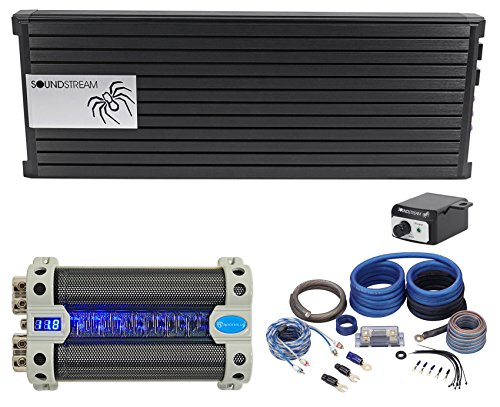 Soundstream Capacitors (SOUNDSTREAM PA1.5000D 2500 Watt RMS Mono Car Audio Amplifier+Amp Kit+Capacitor)