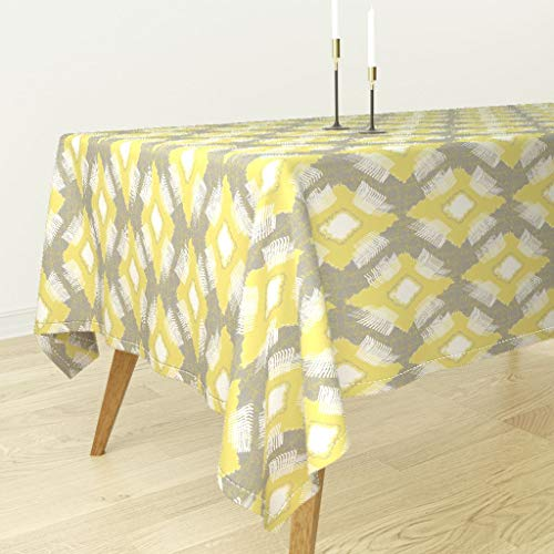 Roostery Gray and Yellow Ikat Tablecloth - Tribal Abstract Ikat Home Decor Ikat Diamond Trellis Gray Citron Tribal Modern Home Decor by Lulabelle - Cotton Sateen Tablecloth 70 x 108