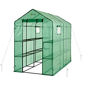 oGrow OG4998-2T12 Extra Large Heavy Duty WALK-IN 2 Tier 12 Shelf Portable Lawn and Garden Greenhouse