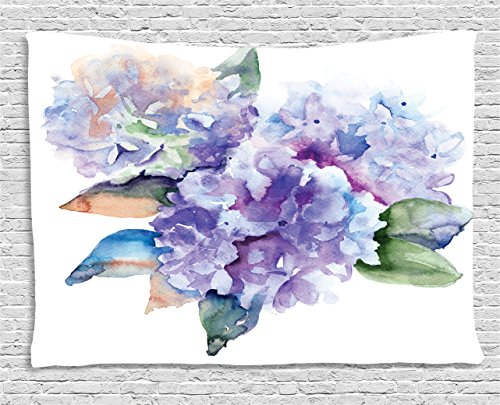 Watercolor Tapestry by Ambesonne, Delicate Hydrangea Flowers Blooming Botanical