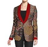 Vska Womens Slim 1 Button Dashiki African Print Plus Size Small Blazer 10 3XL