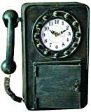 Manual Retro Telephone Metal Kitchen Mantel Desk Wall Clock IMCLPH 10.5×4.25×13.25″ Multi For Sale