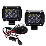 TOPPOWER 18W CREE LED Work light 4inch Updated 4D Lens Waterproof Truck Car ATV SUV Jeep Boat 4WD ATV Auxiliary Driving Lamp with Wiring Harness Kit