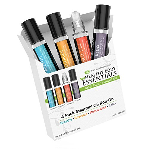 Body Oil Roll (Essential oil Roll On, HBE 4 pack Wonderful Essential oils roll on blends in 1 set. Muscle Ease, Relax, Energize and Breathe. Perfect Aromatherapy Essential oil kit)
