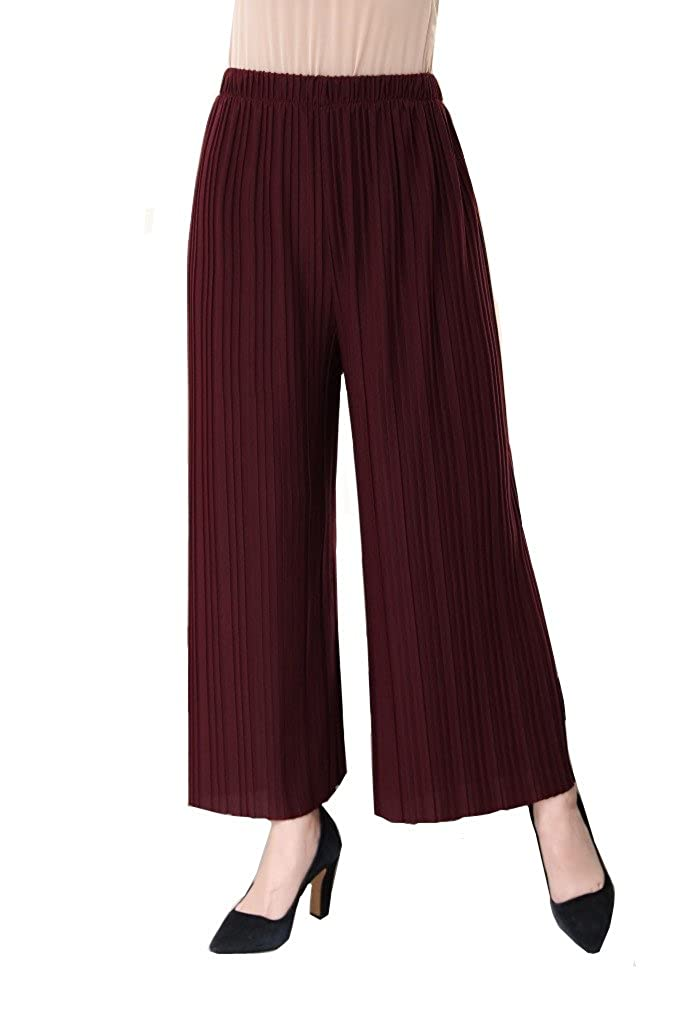 YSJ Women's Pleated Cropped Pants Solid Straight-leg Wide Leg Culottes Trousers 8040