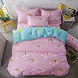 Zhiyuan Rainbow Pattern Duvet Cover Fitted Sheet Pillowcases Set Twin Size
