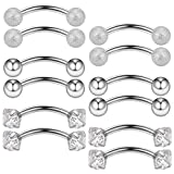 Ruifan 12PCS 16G 3/8'' (10MM) Stainless Steel 3mm Clear Cubic Zirconia & Ball Curved Barbell Eyebrow Tragus Lip Belly Ring Piercing Jewelry - Silver