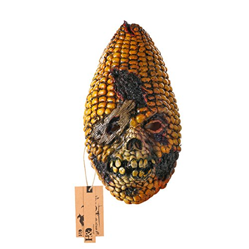 Burnt Zombie Costumes For Adults (Deluxe Novelty Angry Corn Head Masks Burnt Corn Creepy Mask for Halloween Costume Party Latex Crazy mask)
