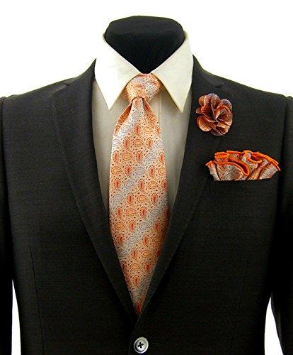 Orange & Lavender Purple Paisley Stripe Necktie Tie, Round Pocket Square and Lapel Pin Box Set by Antonio Ricci