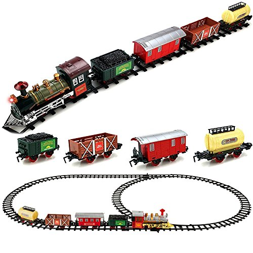 - Kids Battery Operated Classic Toy Railway Train Set with Lights & Sounds, Christmas Spirit, Full Set with Locomotive, Carriage and Tracks, Great Gifts for Kids, Red