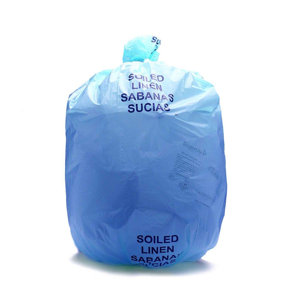 44 Gallon Imprinted Bi-Lingual Case of 150 Plastic Soiled 1.3 Mil Blue 37 Inch x 50 Inch MediChoice Linen Bag