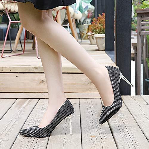 Black Shoes Womens Slip On Dress Paillette Work Renly Pumps Classic zYHxwRvv