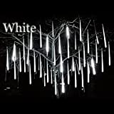 LED Meteor Shower Rain Lights - Skitic Falling Rain Drop Christmas LED String Lights Waterproof Icicle Snow Fall Lighting with 30cm 8 Tube 144 Leds for Holiday Xmas Tree Valentine Wedding Party Decoration (White, UK Plug)
