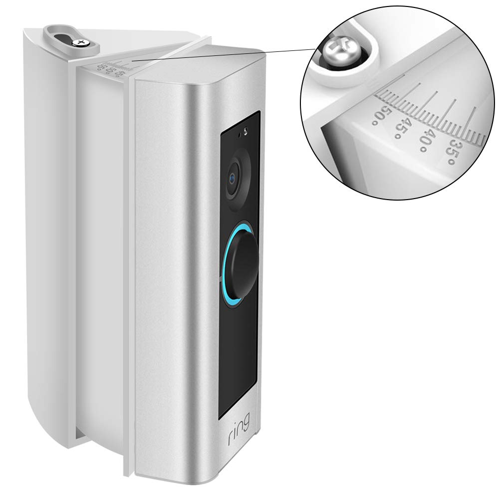 Verstellbare Winkelhalterung mit Grad Skala fü r Ring Video Doorbell 2/1, CAVN genau (30 bis 55 Grad) Winkel Adapter Montageplatte Halterung Keil Ecke Kit fü r Ring Doorbell 2 / Original, Weiß
