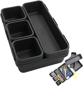 Evelots Drawer Organizer/Divider-Interlocking Container-Sturdy-Home/Office-Set/8