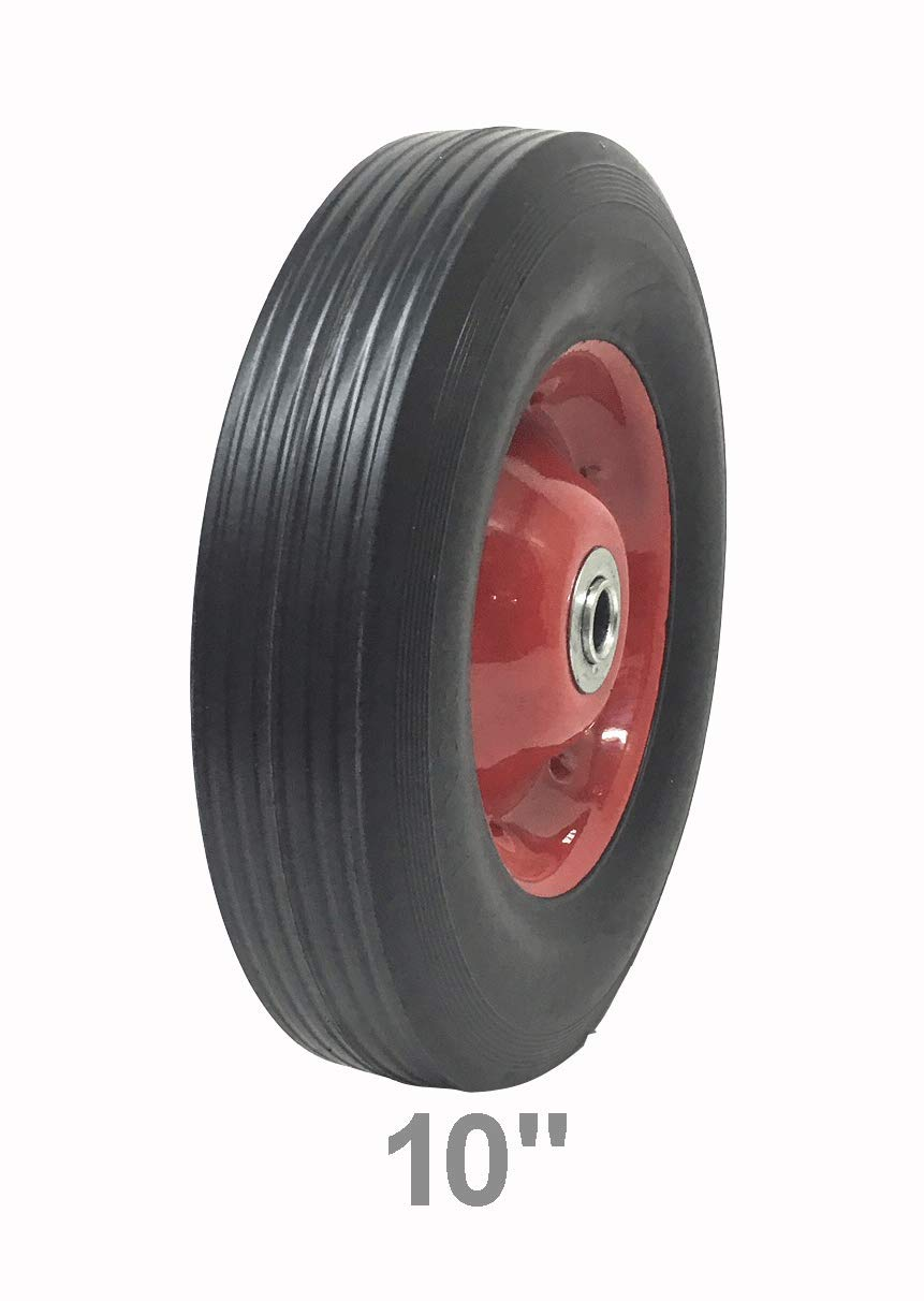 Solid Rubber Flat Free Tire 10 x 2.5 Hand Truck Wheel – 2 1 2 Offset Hub – 5 8 Axle 250 lbs Capacity