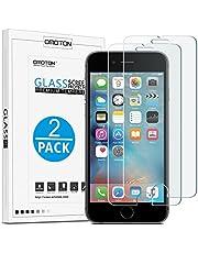 [2 Stück] OMOTON Panzerglasfolie kompatibel mit iPhone 6s und iPhone 6, 9H Härte, Anti-Kratzen, Anti-Öl, Anti-Bläschen,2.5D