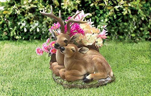 CT DISCOUNT STORE Adorable Deer Loving Family Outdoor Garden Statue (Charming Hand Painted Deer Couples in Love)
