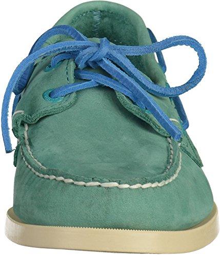 Sebago MenS MenS Docksides Teal Nubuck Leather Shoes Leather Green