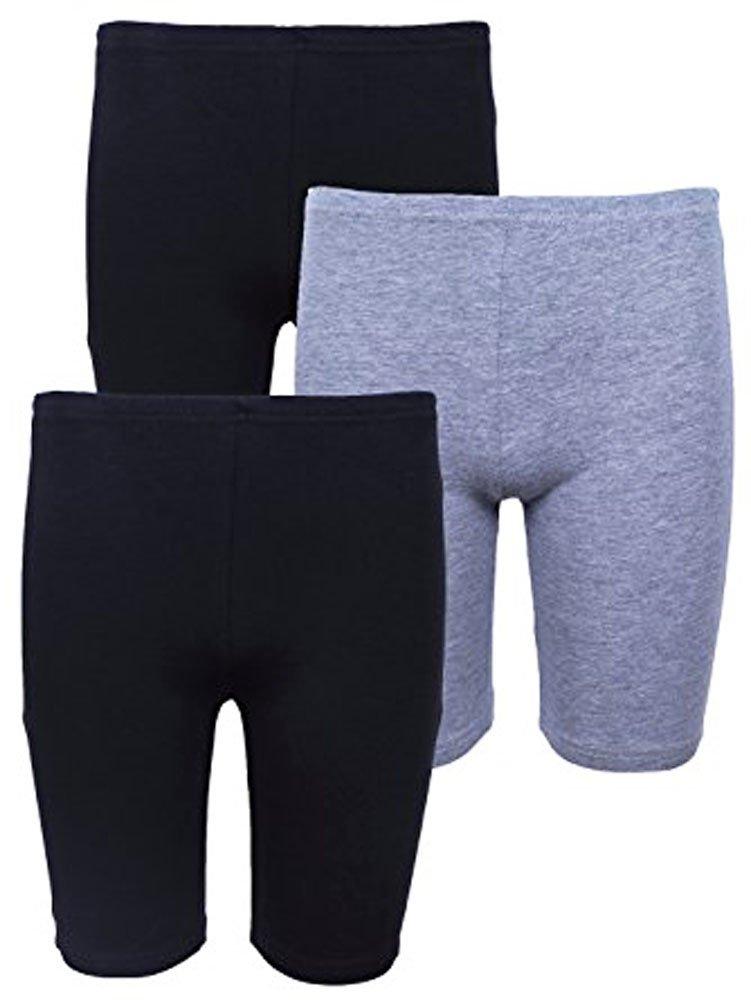 Elegance Girls' 3 Pack Cycling Bike Shorts(Black/Grey/Navy) 3120