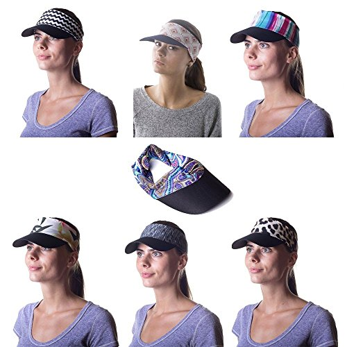 8553f8763eb Women s Sun Visor Hat with Ponytail Hole UV Protection Shade - Import It All