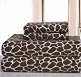 3pc Girls Chocolate Twin Xl Deep Pocket Flannel Sheet Set, Kids Bedding Bedroom, Luxurious Traditional African Safari Themed Teen, Dark Brown Color Giraffe Zoo Jungle Exotic Animals Pattern, Cotton