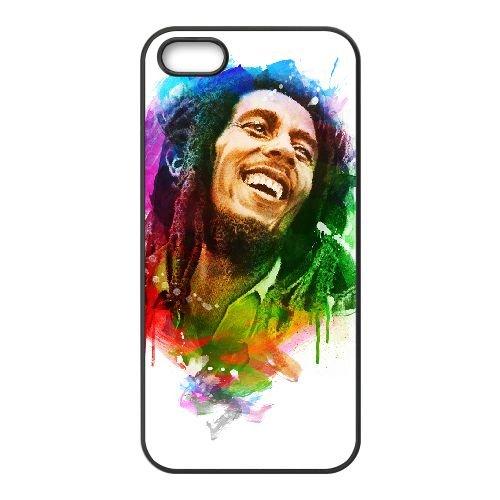 Bob Marley 005 coque iPhone 4 4S cellulaire cas coque de téléphone cas téléphone cellulaire noir couvercle EEEXLKNBC23708