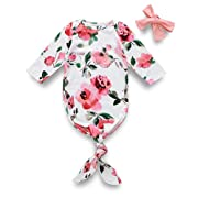 Infant Baby Boy Girl Clothes Soft Sleeper Gown Outfits Floral Sleepwear Romper Newborn Cute Nightgowns (0-6 Months, Pink)