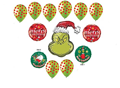 NEW ! How the GRINCH stole christmas MERRY GRINCHMAS BALLOON set 13pc SET party FUN vhtf Grinch Christmas Party