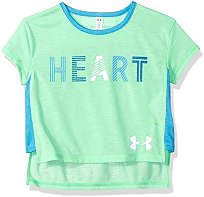 4b7d8018bb Under Armour Girls' Heart T-Shirt, Arena Green Fade Hea (702)/White ...