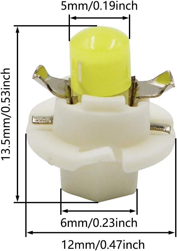 Pack of 10 TABEN B8.4D LED Bulb COB-1SMD 12V Car Dashboard Instrument Reading Panel Light Indicator Light Blubs Green