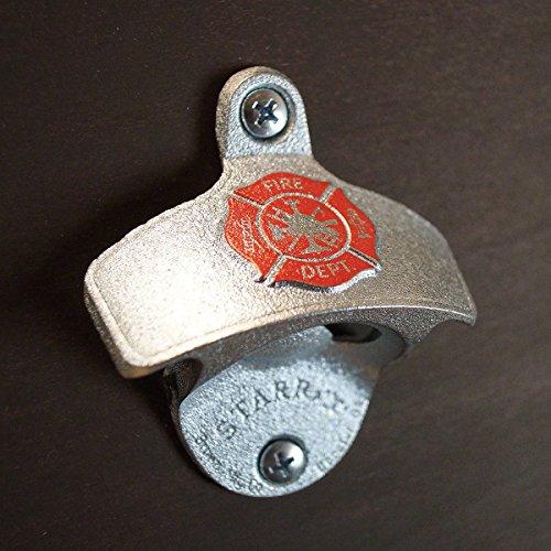 Firefighter Shield Zinc Plated Wall Bottle Opener