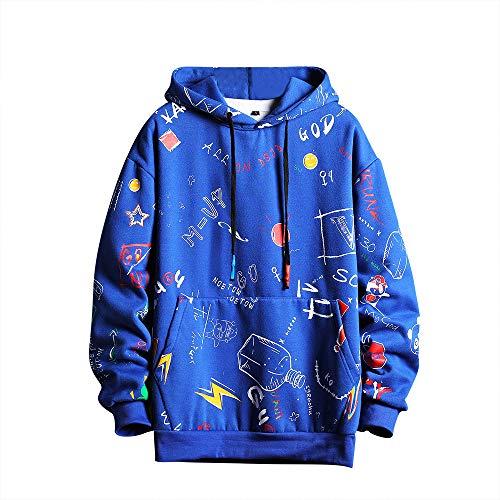 Mens Graffiti Hoodies Print Sweatshirt Fashion Tracksuit Casual Hip-Hop Funny Coat