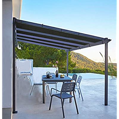 Shatex Shade Panel Block 90% of UV Rays with Ready-tie up Ribbon for Pergola Gazebo Porch, Black (12x12ft) : Garden & Outdoor