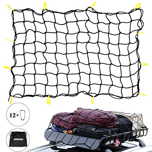 """Egofine 3'x4' to 6'x8' Bungee Heavy Duty Cargo Net for Truck Bed- Small 4""""x4"""" Mess fits SUV, Pickup and Roof Cargo Rack"""