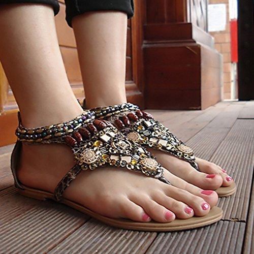 Crc Kvinna Retro Romersk Stil Pärlstav Tillfälliga Bekväma Syntetisk Flip-flop Flats Sandaler Grå