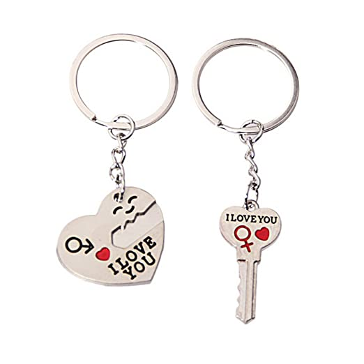 OULII Keychain Pair of I LOVE YOU Keyring Heart Key Chain for ... dc340ba69e
