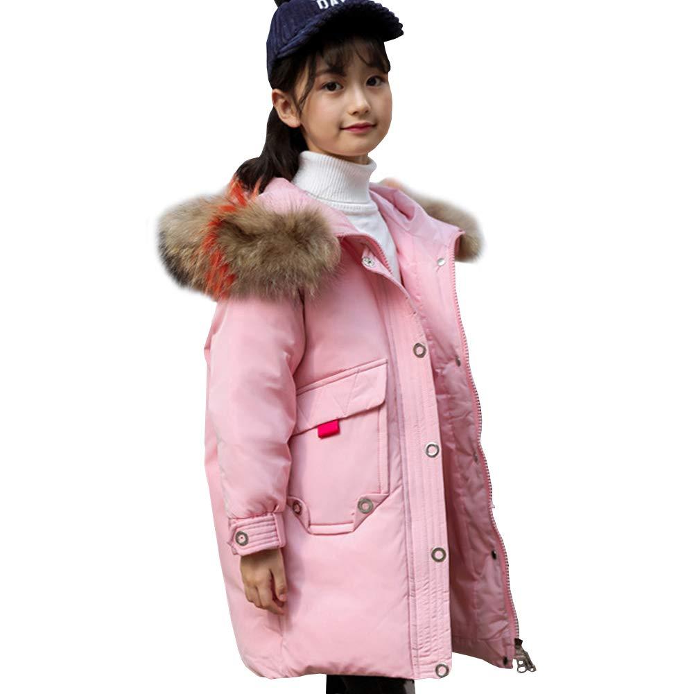 Rose 7-8 ans   130 LSERVER Fille Enfant Veste à Capuche Manteau Parka Doudoune Chaud Blouson Hiver Longue Rembourré Faux Fourrure