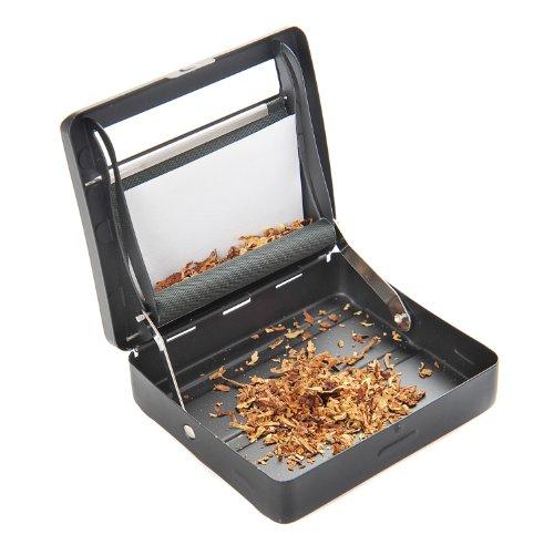 Halbautomatische Zigarettendrehmaschine (Zigarettenmaschine / Dreher) aus Zinklegierung (9cm x 8cm x 2cm), mattschwarz, Mod. 753 DE