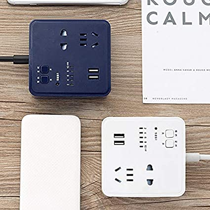 Rxan USB Cable Socket with 2 USB Port and 2 Inserts Timing Charger Small Size for Home Dorm Room Essentials Office