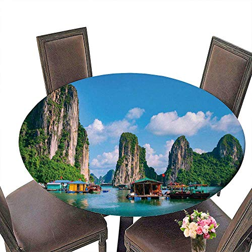 PINAFORE Simple Modern Round Table Floating Fishing Village and Rock Island in halong Bay Vietnam Southeast Asia UNESCO World for Daily use, Wedding, Restaurant 31.5