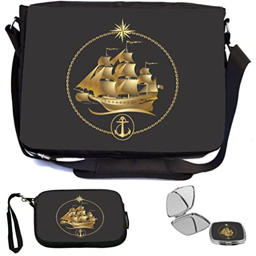 Rikki Knight Gold Sailboat Emblem Design COMBO Multifunction Messenger Laptop Bag - with padded insert for School or Work - includes Wristlet & Mirror