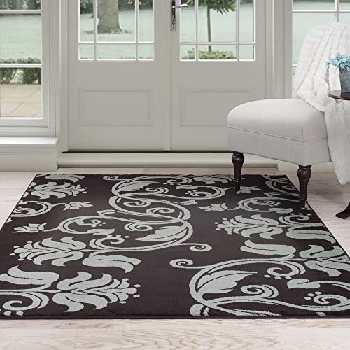 Lavish Home Floral Scroll Area Rug
